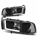 94-01 Dodge RAM Truck 1500 2500 3500 Black Housing Clear Corner LED DRL Headlights / Lamps