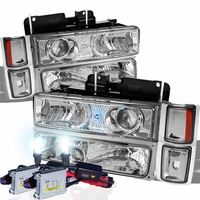 HID Xenon + 94-98 Chevy C10 Full Size Pickup Projector Headlights Set - Chrome