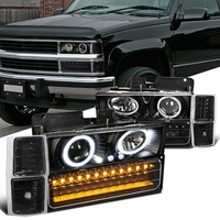 94-98 Chevy Full Size Pickup C10 C/K Halo Projector Headlights + LED Bumper Lights - Black Clear