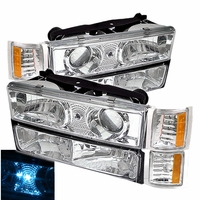 94-98 Chevy C10 Full Size Pickup Projector Headlights Set - Chrome Amber