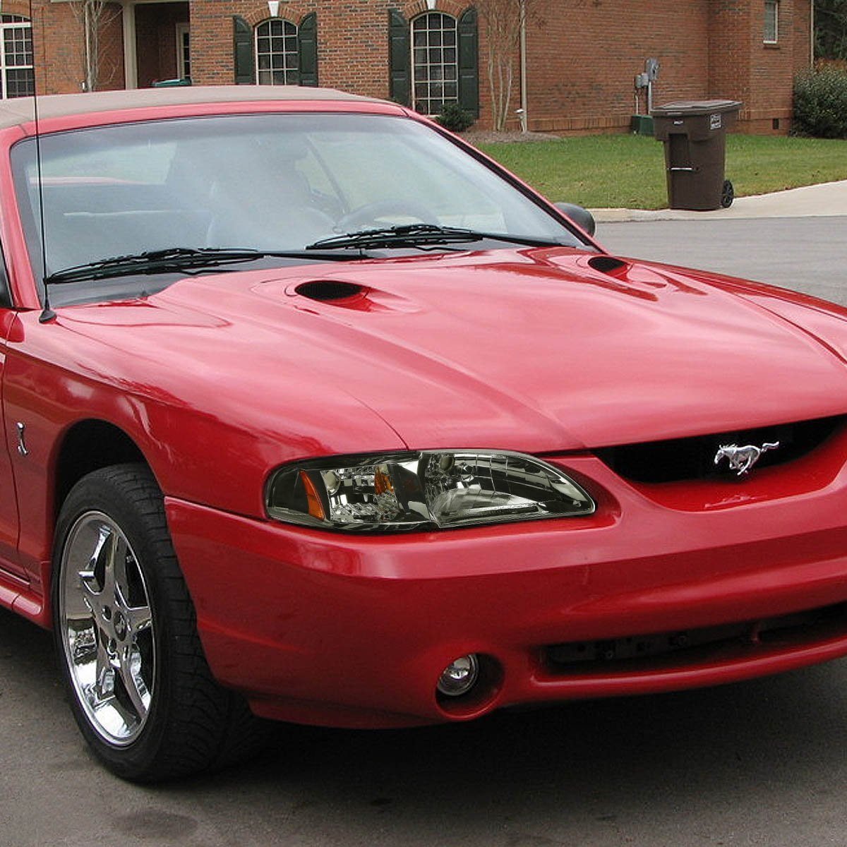 94 98 ford mustang 1 piece crystal headlights smoked. Black Bedroom Furniture Sets. Home Design Ideas