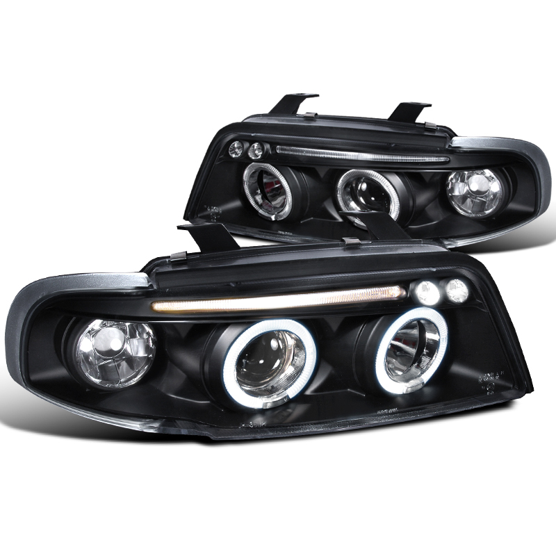 96 99 audi a4 s4 angel eye halo led projector headlights black. Black Bedroom Furniture Sets. Home Design Ideas