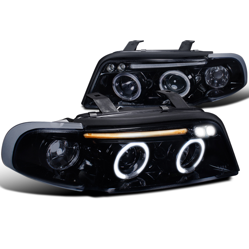 96 99 audi a4 s4 angel eye halo led projector headlights gloss black. Black Bedroom Furniture Sets. Home Design Ideas