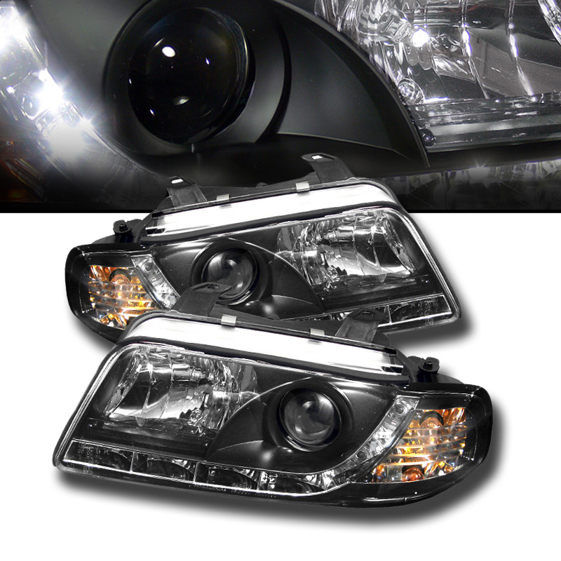 96 99 audi a4 drl led euro projector headlights black. Black Bedroom Furniture Sets. Home Design Ideas