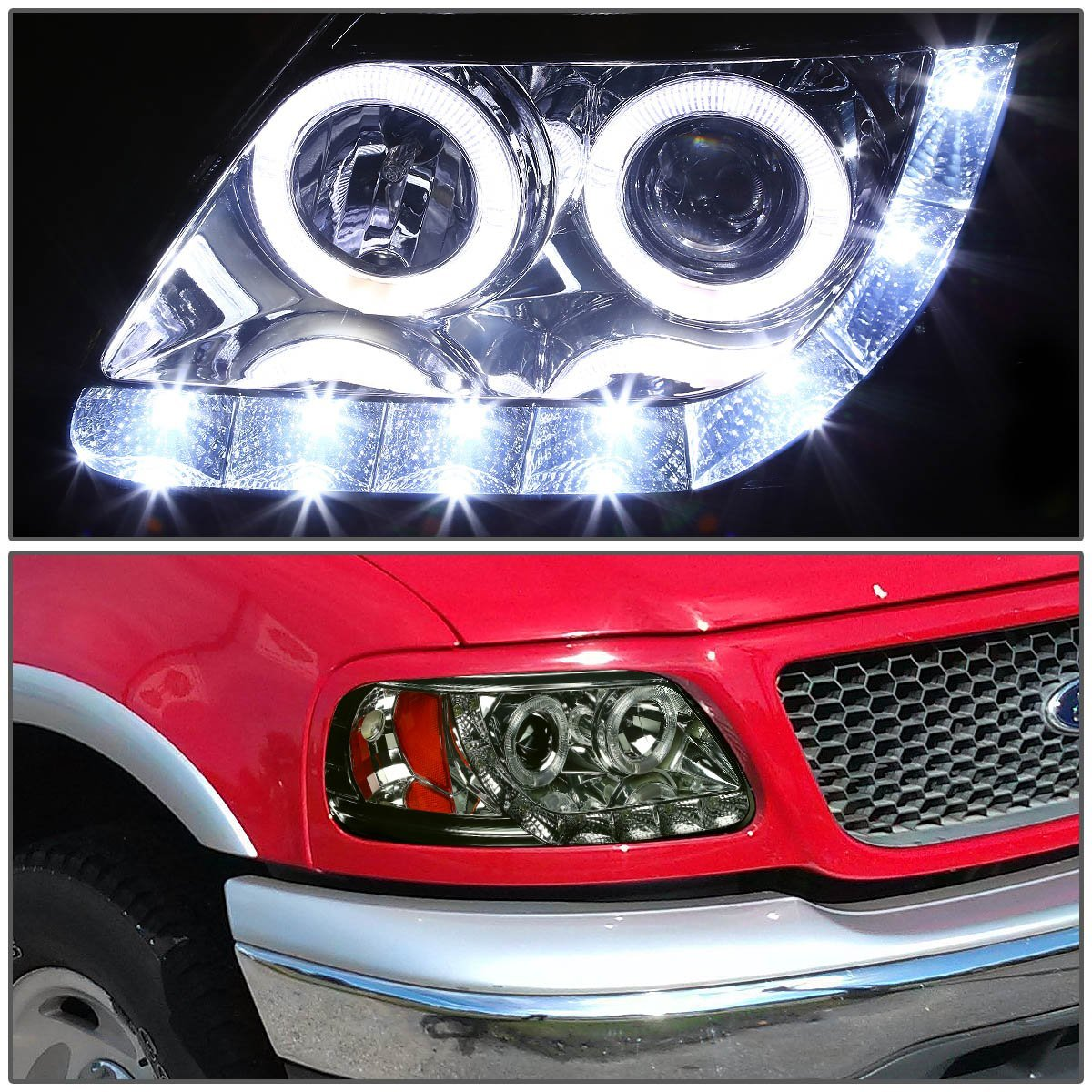 97 03 ford f150 expedition angel eye led strip projector headlights smoked