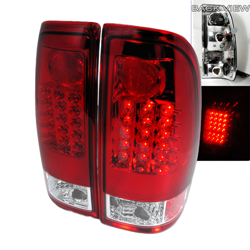 97 03 ford f150 f250 super duty euro style led tail lights red clear. Black Bedroom Furniture Sets. Home Design Ideas