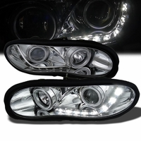 98-02 Chevy Camaro R8 Style LED DRL Projector Headlights - Chrome