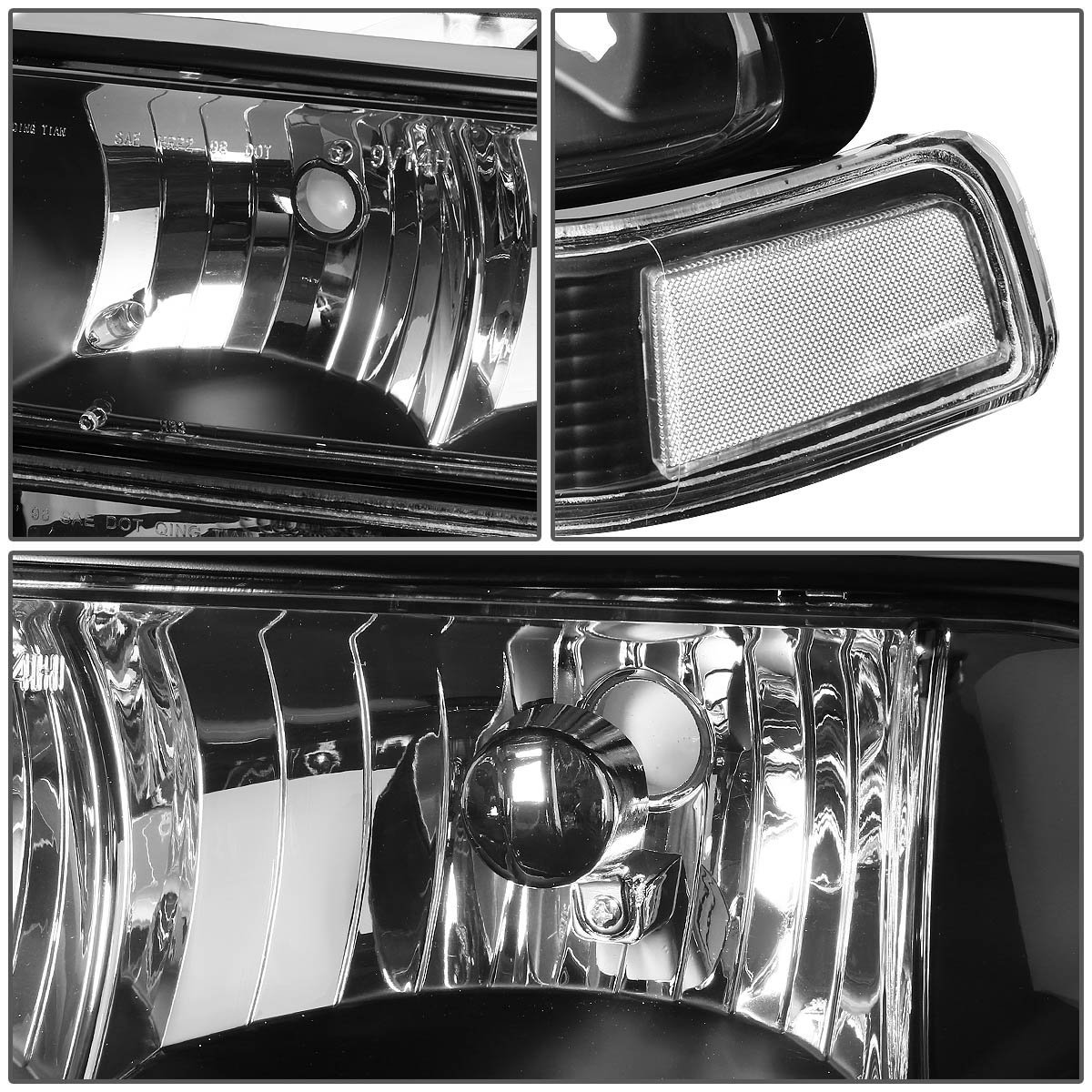 98 04 chevy s10 blazer crystal replacement headlights black clear