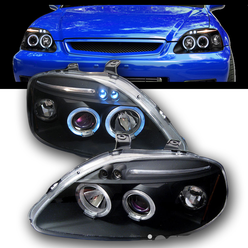 99 00 honda civic angel eye halo led projector. Black Bedroom Furniture Sets. Home Design Ideas