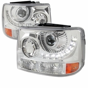 99-02 Chevy Silverado 1PC Projector LED-DRL Headlights - Chrome