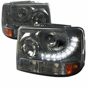 99-02 Chevy Silverado 1PC Projector LED-DRL Headlights - Smoked