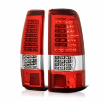 99-02 Chevy Silverado / 99-03 GMC Sierra (Non Stepside) ?C Shape? LED Tail Lights - Red Clear