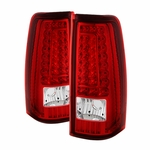 99-02 Chevy Silverado / GMC Sierra C-Style LED Tail Lights - Red Clear