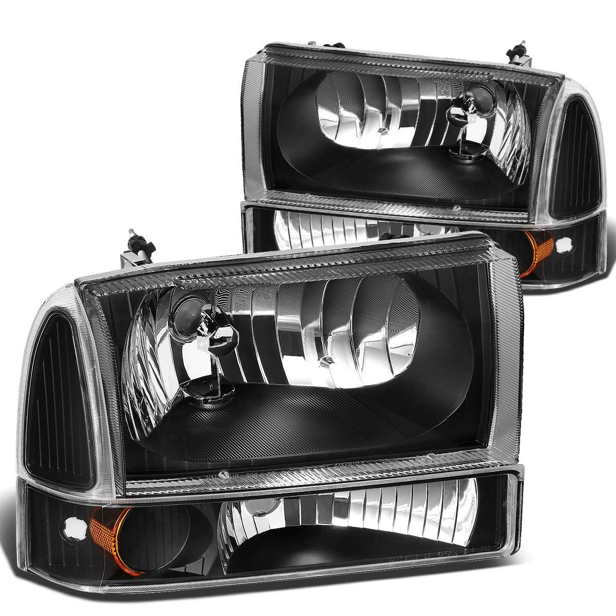 99 04 ford f250 f350 excursion euro crystal headlights with corner black