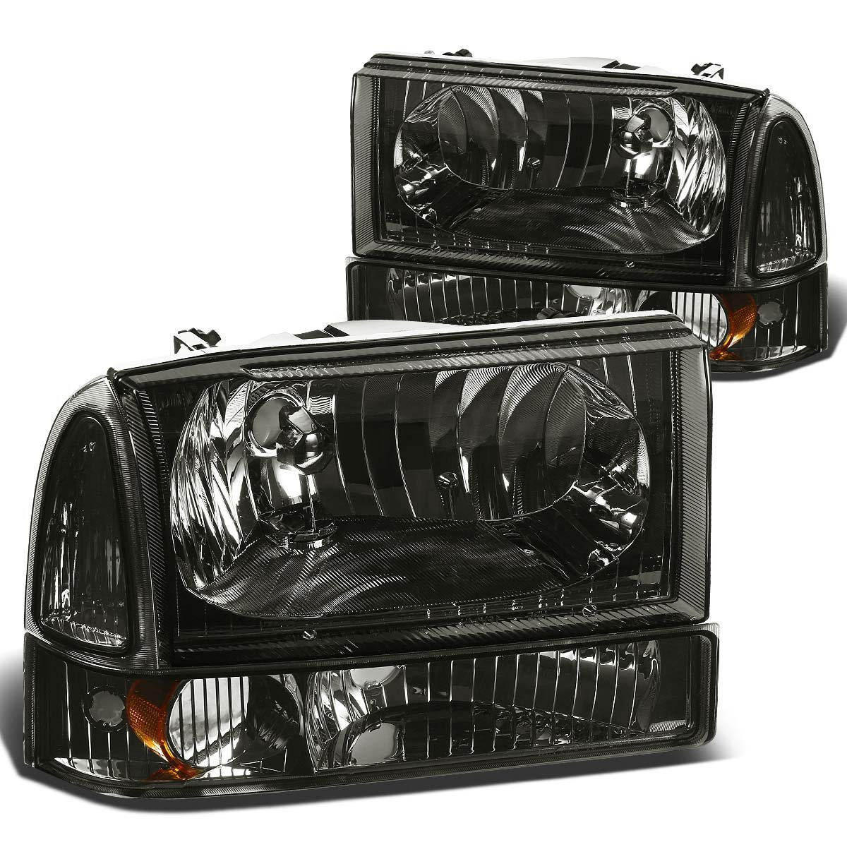 99 04 ford f250 f350 excursion euro crystal headlights with corner smoked