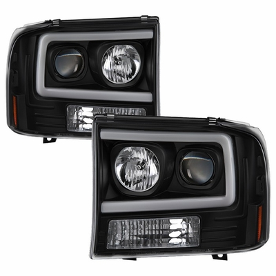 99-04 Ford F250 F350 Super Duty LOBO LED Tube Projector Headlights - Black