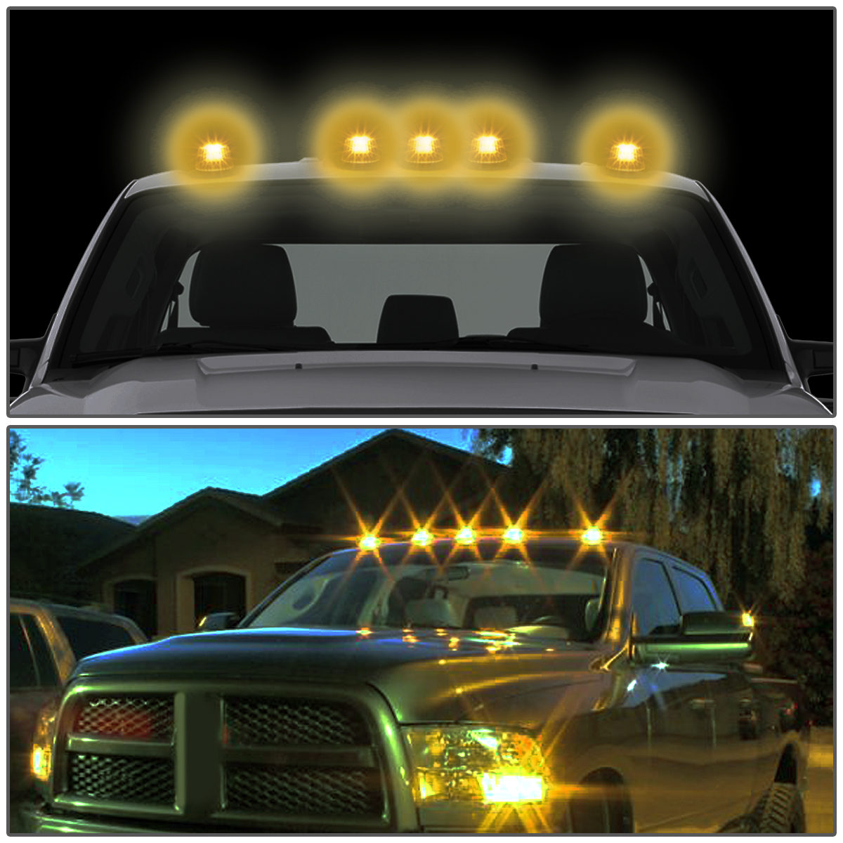 99-16 Ford Superduty 5 X LED Cab Roof Top Lights + Wiring Harness (Black  Housing ...