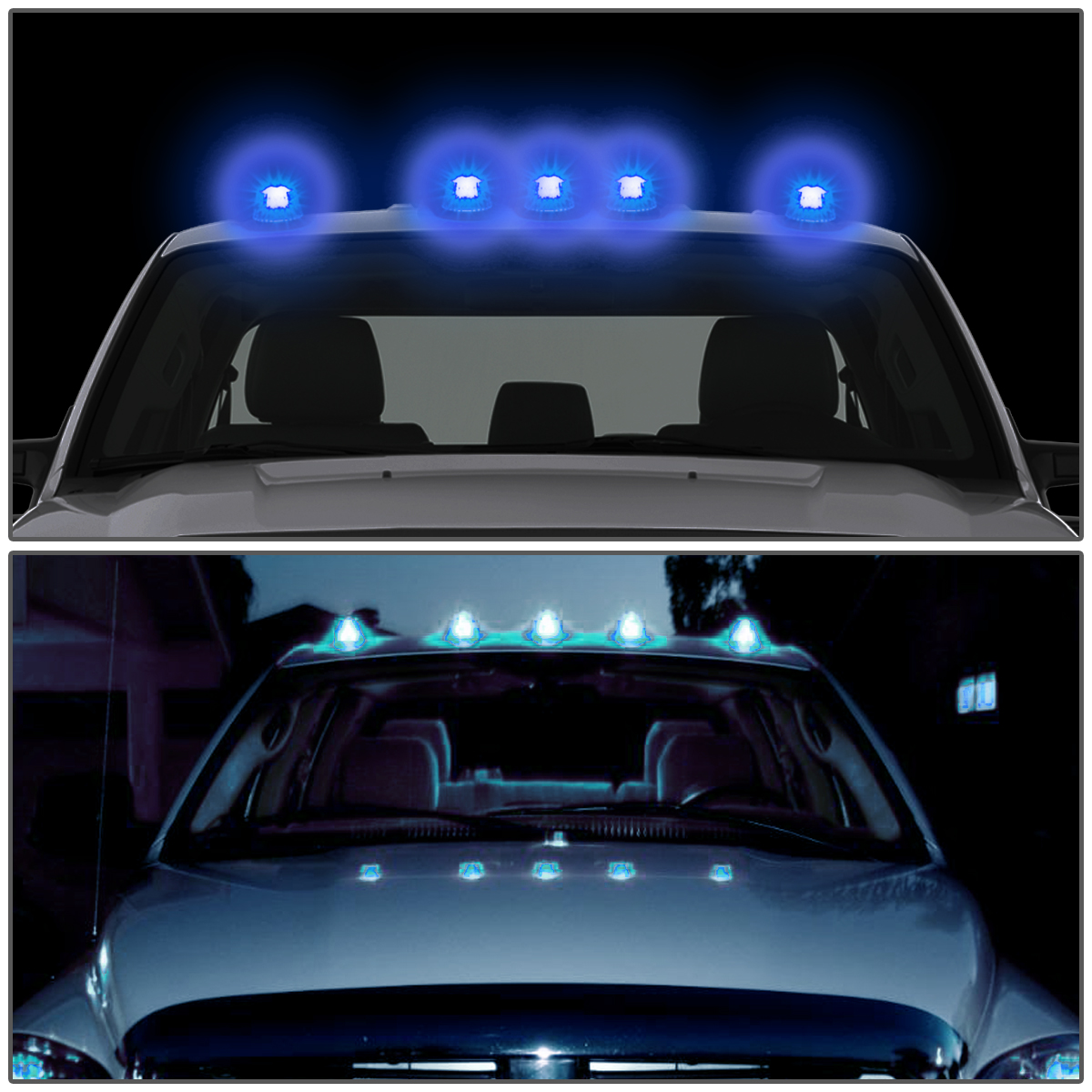 99 16 Ford Superduty 5 X Led Cab Roof Top Lights Wiring Harness Car Light Black Housing