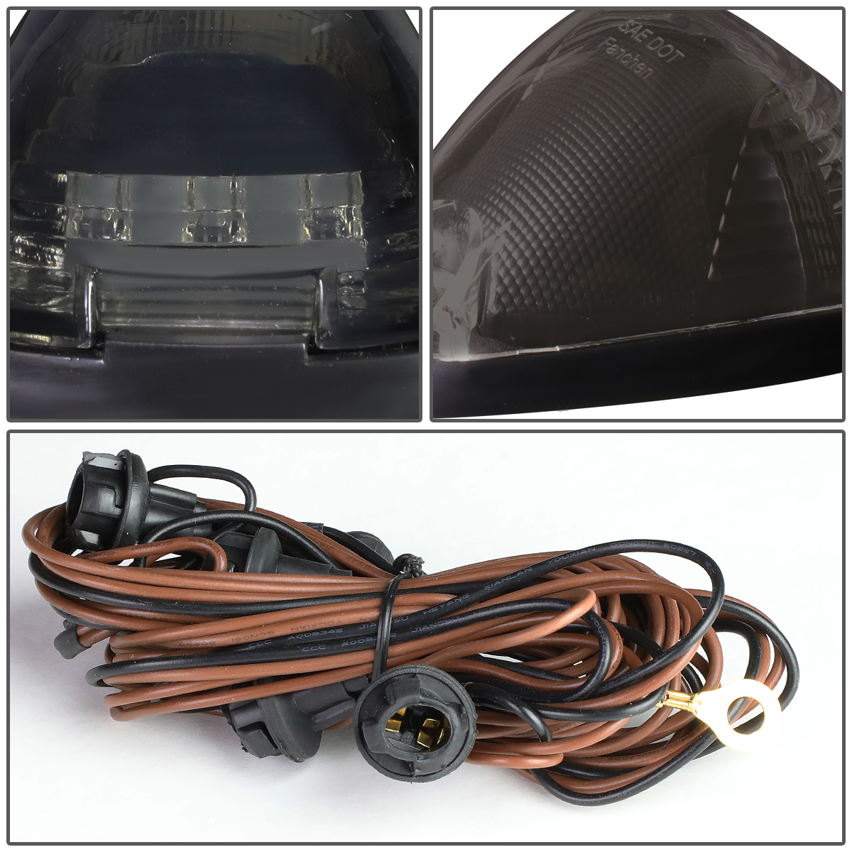 99-16 Ford Superduty 5 X LED Cab Roof Top Lights + Wiring Harness (Smoked  Housing ...
