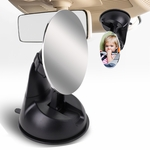 Adjustable 75mm Baby Infant Round Back Seat Mirror Rear View Monitor + Suction Cup Mounted Base