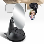 Adjustable 85mm Baby Infant Round Back Seat Mirror Rear View Monitor + Suction Cup Mounted Base