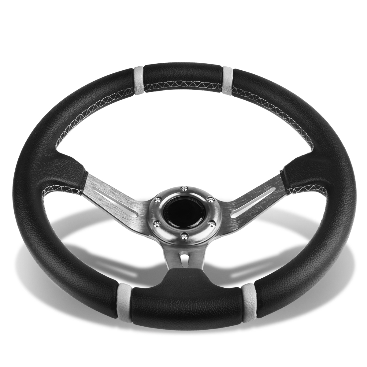 Aluminum Frame Vinyl Leather Cover 350mm 6-Bolt Steering wheels + ...