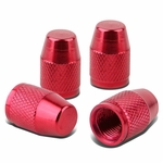 Bullet Style Polished Aluinum Red Tire Vavle Stem Caps (Pack of 4)