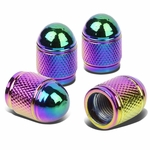 Bullet Style Polished Aluminum Rainbow Chrome Tire Valve Stem Caps (Pack of 4)