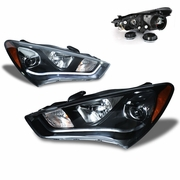 CG 13-15 Hyundai Genesis Coupe [HID Model] Fiber Optic LED DRL Projector Headlights - Black