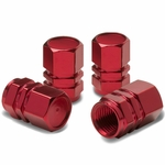 Hexagon Style Polished Aluminum Light Weight Tire / Rim Valve Caps - Red