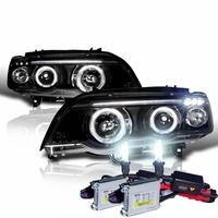 HID Xenon + 00-03 BMW X5 E53 Angel Eye Halo LED Projector Headlights - Black