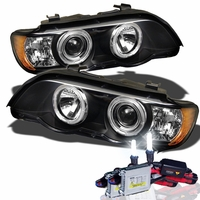 HID Xenon + 01-03 BMW X5 E53 Angel Eye Halo Projector Headlights - Black