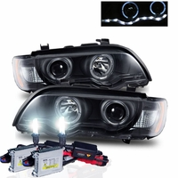 HID Xenon + 01-03 BMW X5 E53 Halo & LED DRL Projector Headlights - Black