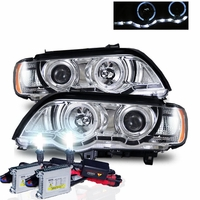 HID Xenon + 01-03 BMW X5 E53 Halo & LED DRL Projector Headlights - Chrome