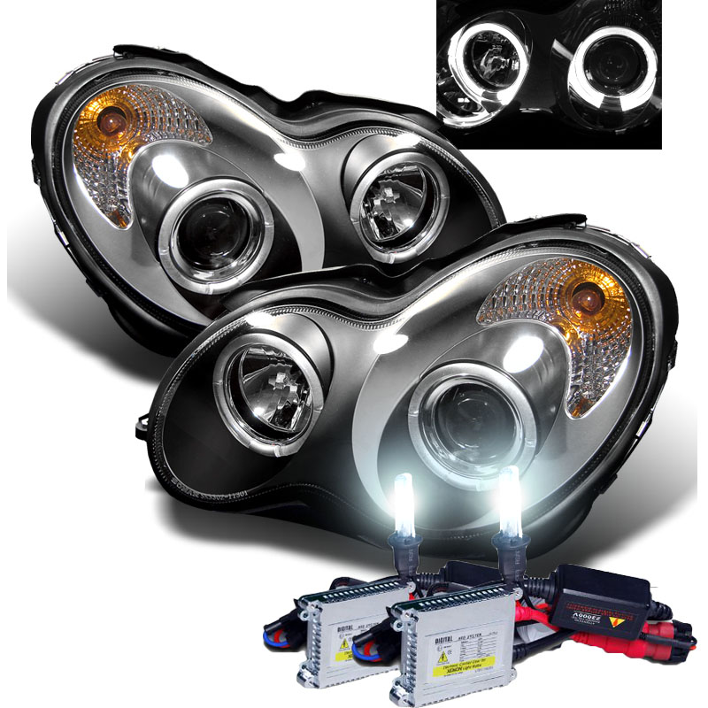 Mercedes benz w203 c class 01 05 halo projector headlights for Mercedes benz xenon headlights