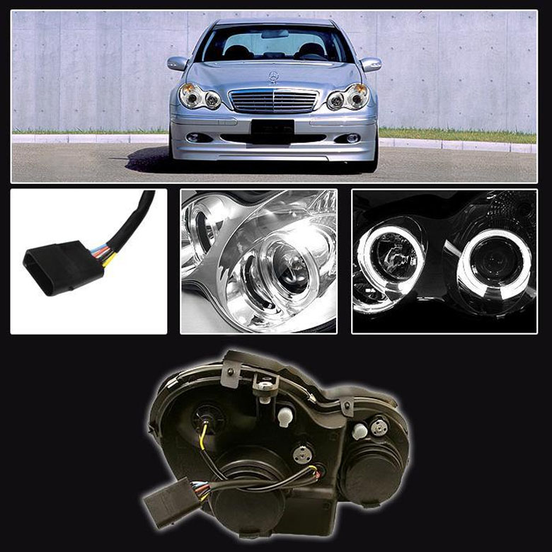 hid xenon 01 05 benz w203 c class angel eye halo projector headlights black 48 mercedes benz w203 c class 01 05 halo projector headlights black w203 headlight wiring diagram at couponss.co
