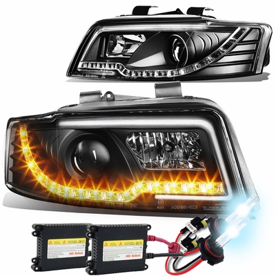 HID Xenon + 02-05 Audi A4 / 04-05 Audi S4 B6 LED Tube / Signal Projector Headlights - Black