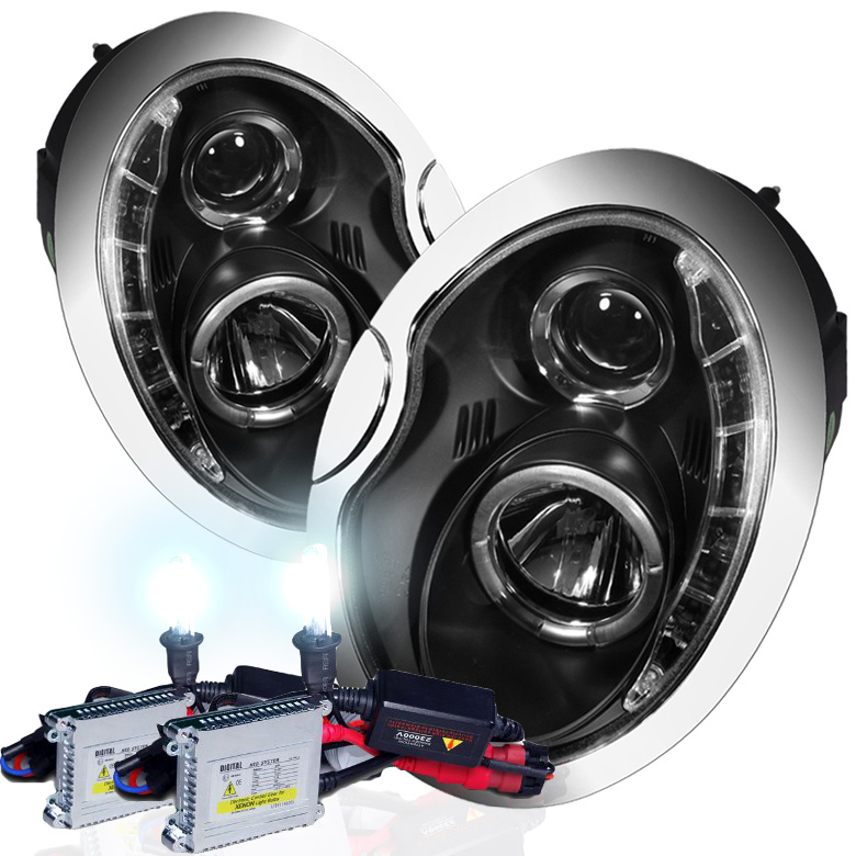mini cooper 02 06 drl led projector headlights black with hid kit rh protuninglab com