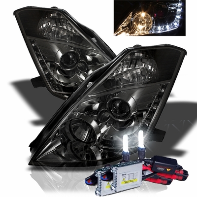 HID Xenon + 03-05 Nissan 350Z (Halogen Model) LED DRL Projector Headlights - Smoked