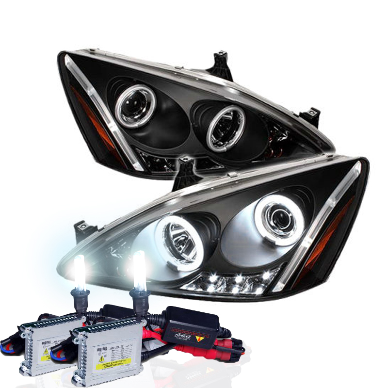 Hid Xenon 03-07 Honda Accord Angel Eye Halo Led Proiettore Fari - Nero-1897