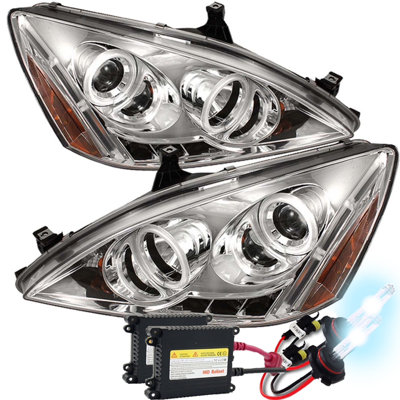 Hid Xenon 03-07 Honda Accord Angel Eye Halo Led Proiettore fari - Chrome-7705