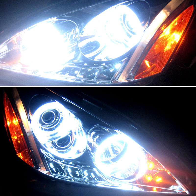 HID Xenon + 03 07 Honda Accord Angel Eye Halo U0026 LED Projector Headlights    Smoked