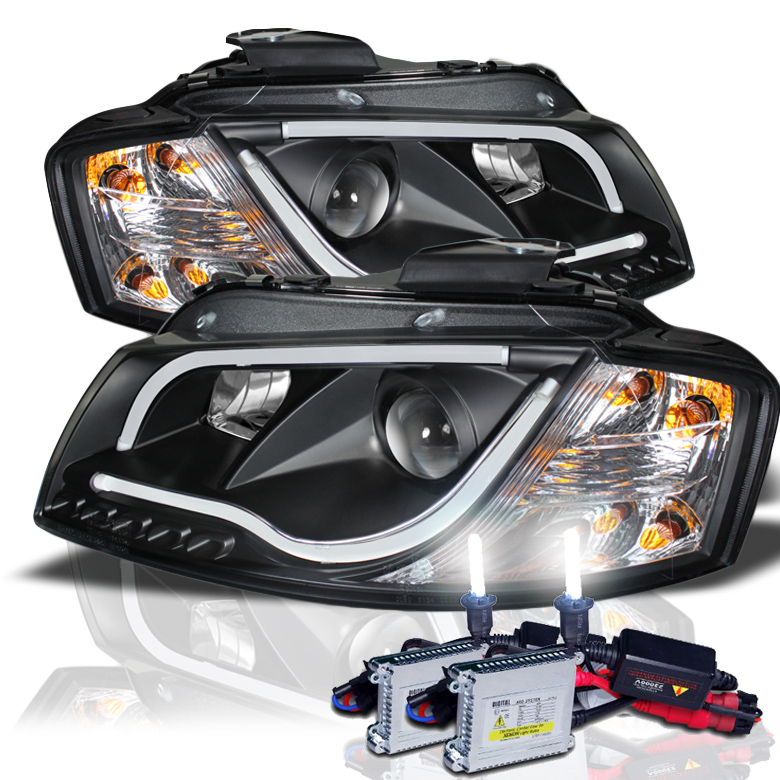 HID Xenon + 03-08 Audi A3 DRL LED Light-Tube Projector
