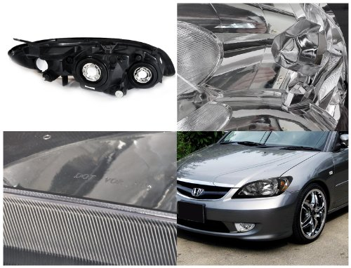 Exceptionnel HID Xenon + 04 05 Honda Civic 2DR JDM Style Crystal Headlights   Black