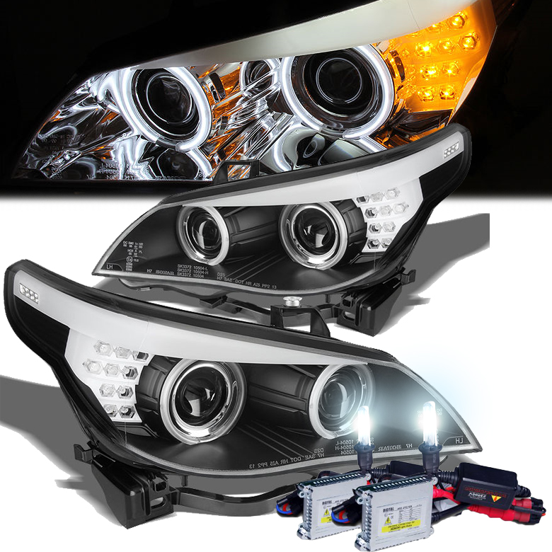 hid xenon 04 07 bmw 5 series e60 angel eye halo led. Black Bedroom Furniture Sets. Home Design Ideas