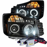 HID Xenon + 04-12 Nissan Titan CCFL Angel Eye Halo & LED Projector Headlights - Black