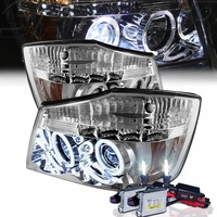 HID Xenon + 04-14 Nissan Titan / 04-07 Armada  Dual Halo & LED Projector Headlights - Chrome