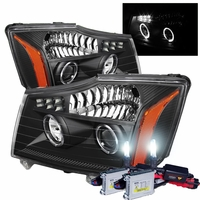 HID Xenon + 04-14 Nissan Titan / 04-07 Armada Angel Eye Halo & LED Projector Headlights - Black