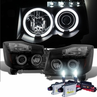 HID Xenon + 04-14 Nissan Titan / 04-07 Armada  Dual Halo & LED Projector Headlights - Black Smoked