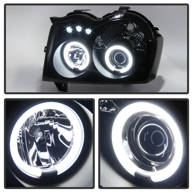 hid xenon 05 07 jeep grand cherokee angel eye halo led projector headlights black smoked 35 xenon 05 07 jeep grand cherokee angel eye halo & led projector Jeep Cherokee Stereo Wiring at bakdesigns.co